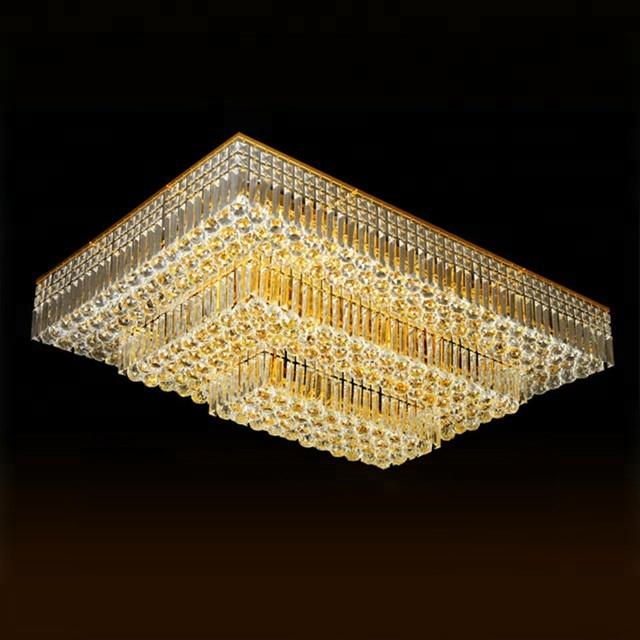Đèn trang trí ốp trần pha lê hình chữ nhật 3 tầng